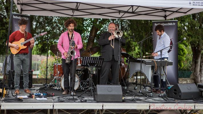 Alexis Valet Quartet : Yori Moy, Brice Matha, Jéricho Ballan, Sébastien Arruti, Alexis Valet. Festival JAZZ360 2016, Quinsac, 12/06/2016