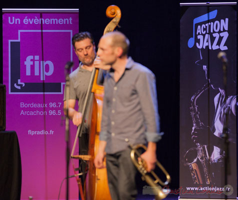 Publicités FIP et Action Jazz, quintet On Lee Way. Tremplin Action Jazz 2017. Le Rocher de Palmer, Cenon