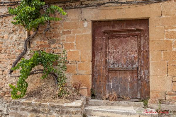 Façade au pied de vigne et vieille porte d'entrée de maison / Vid y casa de puerta de edad Lumbier, Navarra