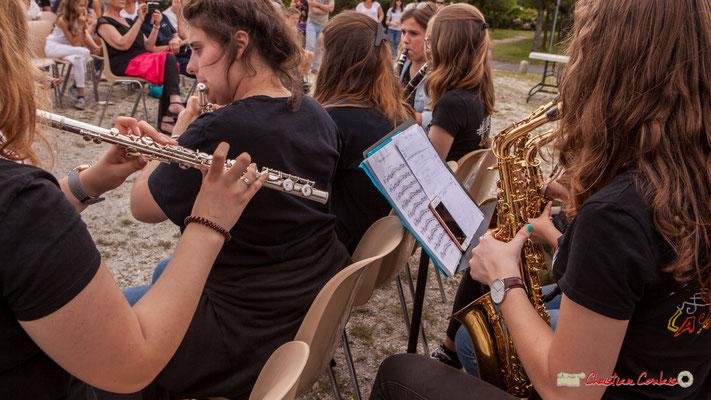 Partition de la ligne de saxophone. Big Band Jazz du Collège Eléonore de Provence, dirigée par Rémi Poymiro. Festival JAZZ360 2018, Cénac. 08/06/2018