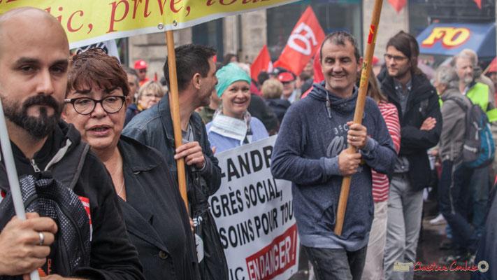 Hôpital Saint-André, public en danger. Manifestation contre la réforme du code du travail. Place Gambetta, Bordeaux, 12/09/2017