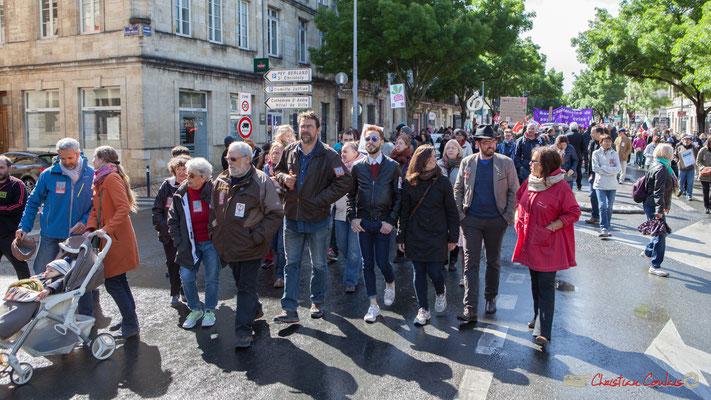 Vincent Feld (au centre), coordinateur des Insoumis de l'Entre-Deux-Mers. Manifestation du 1er mai 2017, avec la France Insoumise, cours d'Albret, Bordeaux