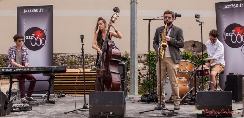 Robin Magord, Laure Sanchez, Jonathan Bergeron, Nicolas Girardi; Atelier Jazz du conservatoire Jacques Thibaud. Festival JAZZ360 2018, Quinsac. 10/06/2018