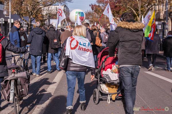 Certains débutent jeunes leur militantisme. Manifestation intersyndicale contre les réformes libérales de Macron. Cours d'Albret, Bordeaux, 16/11/2017