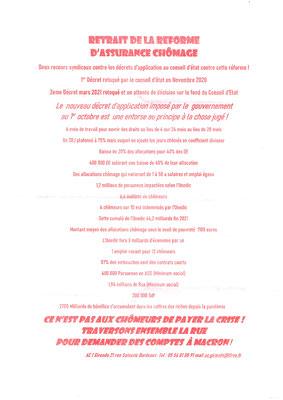 Tract syndical Agir ensemble contre le chômage page 2, manifestation du mardi 5 octobre 2021