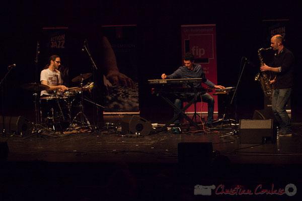 9 King Kong III, trio composé de Simon Pourbaix, Stéphane Cazilhac, Edouard Lhoumeau. Tremplin Action Jazz 2017. Le Rocher de Palmer, Cenon