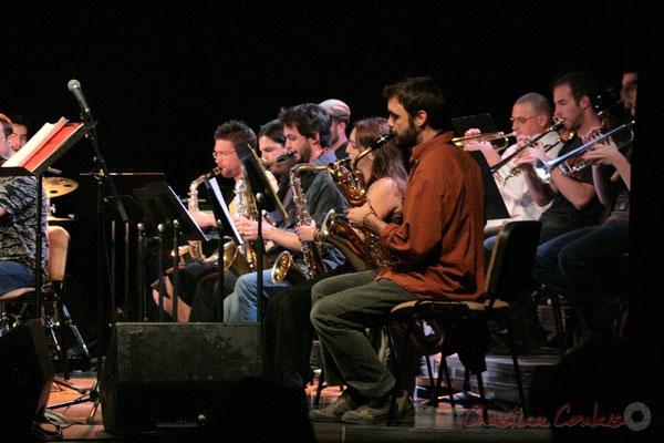 Ligne de cuivres, Big Band du Conservatoire Jacques Thibaud, section MAA-Jazz. Festival JAZZ360 2011, Cénac. 03/06/2011