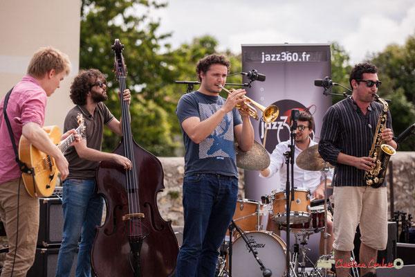 Thomas Gaucher, Louis Laville, Louis Gachet, Nicolas Girardi, Mathis Polack; Atelier jazz du conservatoire Jacques Thibaud. Festival JAZZ360, Quinsac. 10/06/2018