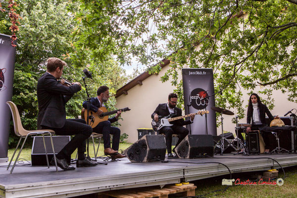 Nicolas Saez Quartet : Nicolas Frossard, Nicolas Saez, Julien Cridelause, Sabrina Romero; Festival JAZZ360, Château Duplessy, Cénac. Lundi 10 juin 2019