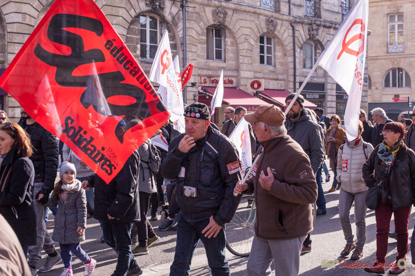 Sud éducation Solidaires / la France insoumise. Manifestation intersyndicale contre les réformes libérales de Macron. Place Gambetta, Bordeaux, 16/11/2017