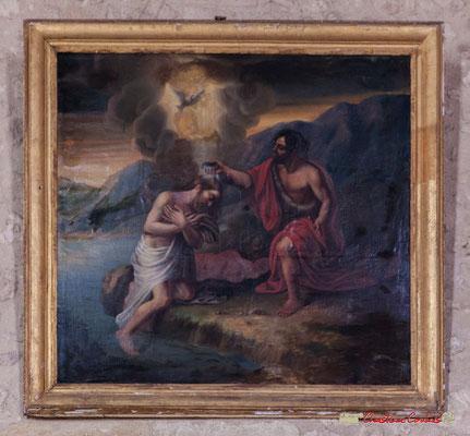 """""""A l'occasion de la visite épiscopale de 1766, il fut demandé qu'un tableau représentant le baptême du Christ figura près des fonds baptismaux"""" (Cénac en Entre-Deux-Mers)  Eglise Saint-André, Cénac. 11/05/2018"""