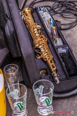 Saxophone soprano de Jérôme Macotto. Dîner-concert au Restaurant Les Acacias, Festival JAZZ2018, Cénac. 08/06/2018