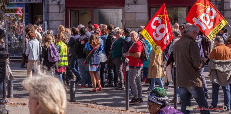 C.G.T. Finances publiques. Manifestation intersyndicale de la Fonction publique, place Gambetta, Bordeaux. 10/10/2017