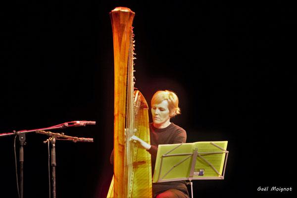 Sandrine Sélinger, harpiste, photographiée par Gaël Moignot. Les Diapasons de l'AMAC, samedi 2 février 2019