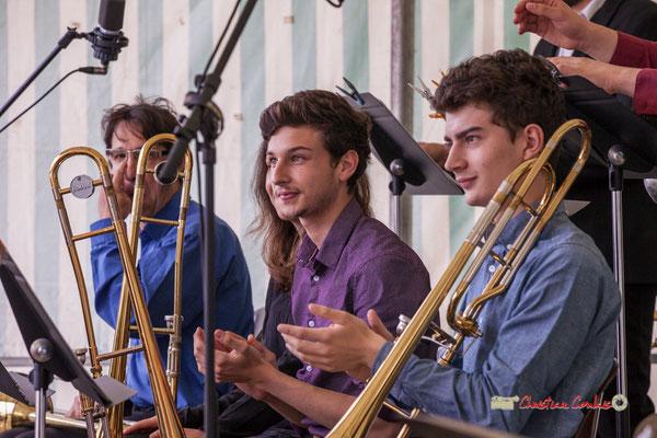 Victor Dubray, Maxime Chevalier; Big Band du Conservatoire Jacques Thibaud. Festival JAZZ360 2019, parc du château de Pomarède, Langoiran. 06/06/2019