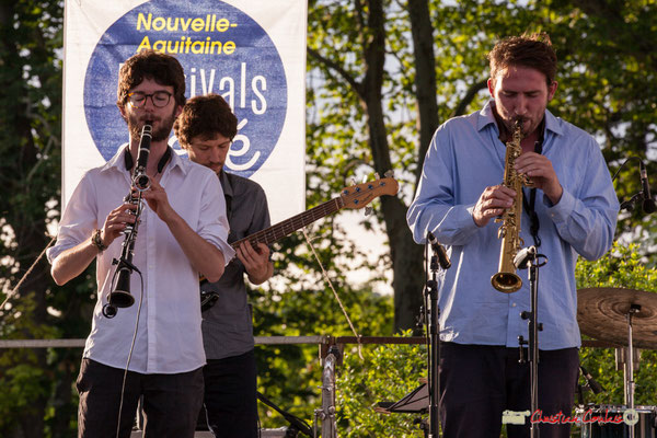 Clément Meunier, Gaspard Colin, Louis Billette, Marton Kiss; Oggy & The Phonics. Festival JAZZ360 2018, Langoiran. 07/06/2018