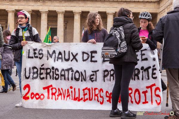 """10h02 """"Les maux de l'année : ubérisation et précarité; 2 000 travailleurs sans droits"""". Nouvelle forme d'esclavage ? Place de la République, Bordeaux. 01/05/2018"""