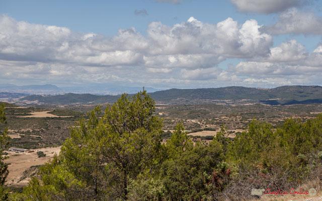 Piémont de la cordillère pyrénéenne depuis un point de vue proche d'Ujué, Navarre, Espagne
