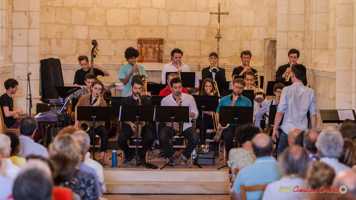 Big Band Jazz du conservatoire de Bordeaux Jacques Thibaud, dirigé par Mathieu Tarot. Festival JAZZ360 2018, Eglise Saint-André de Cénac. 09/06/2018