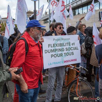 """""""Projet Macron : flexibilité et dumping social pour tous"""". Manifestation contre la réforme du code du travail. Bordeaux, 12/09/2017"""