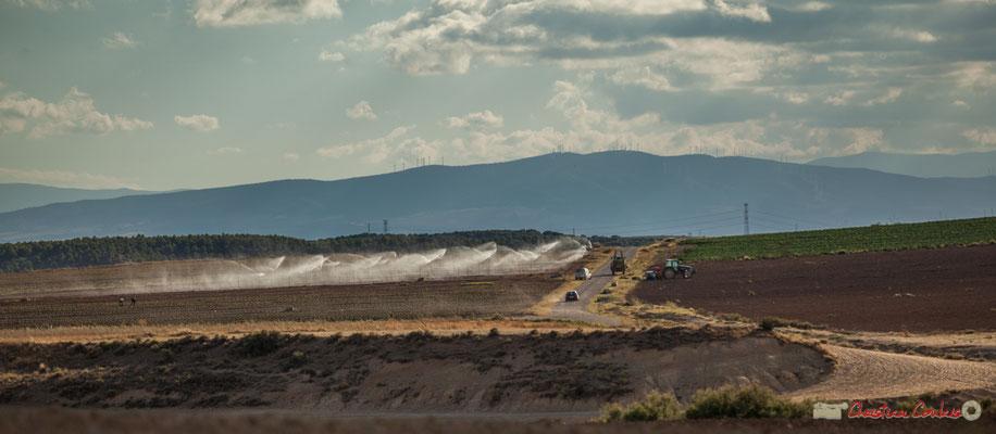 Arrosage des champs de production agricole / Riego de los campos de producción agrícola, Parque natural de las Bardenas Reales, Navarra