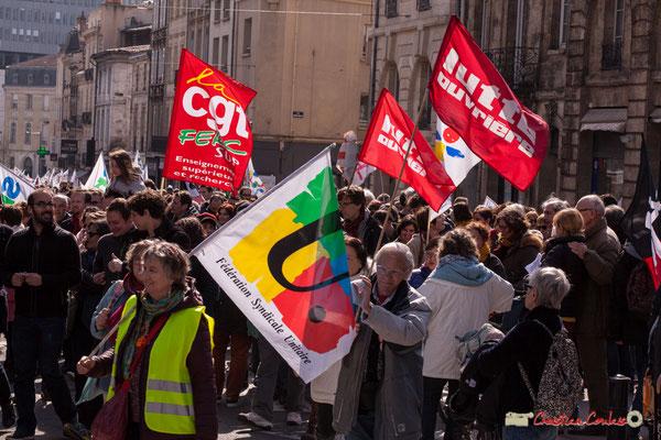 15h01 Lutte ouvrière. Manifestation intersyndicale de la Fonction publique/cheminots/retraités/étudiants, place Gambetta, Bordeaux. 22/03/2018