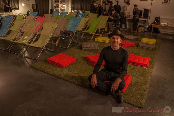 Zen attitude pour cette première mondiale, ce marathon sonore (17h00 à 1h00) proposé par Philippe Cauvin, 12/12/2015. Reproduction interdite - Tous droits réservés © Christian Coulais