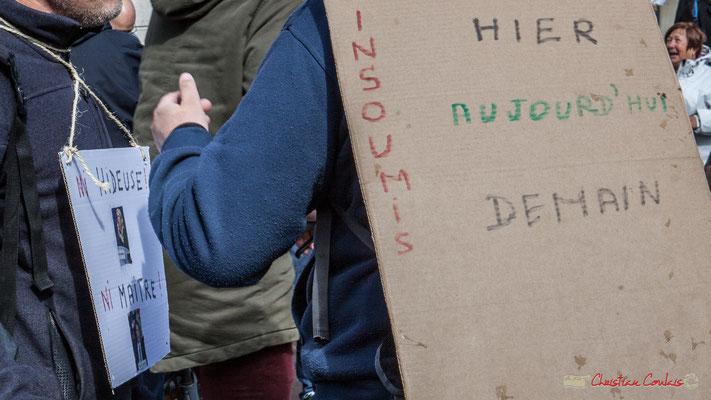 """""""Ni hideuse, ni maître"""" Manifestation du 1er mai 2017, avec la France Insoumise, cours d'Albret, Bordeaux"""