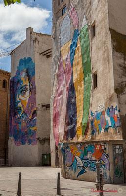 Peintures murales sur immeuble /  Pinturas murales en el edificio, Tudella, Navarra