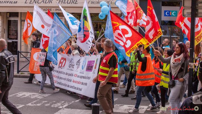 Bannière unitaire intersyndicale. Manifestation intersyndicale de la Fonction publique, place Gambetta, Bordeaux. 10/10/2017