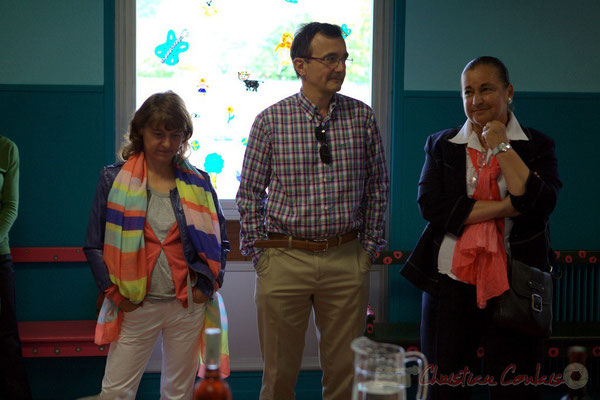 Stéphanie Ventura-Fornos, élue Quinsac; Lionel Faye, Maire de Quinsac; Martine Faure, Députée de la Gironde. Festival JAZZ360 2012, Cénac, samedi 9 juin 2012
