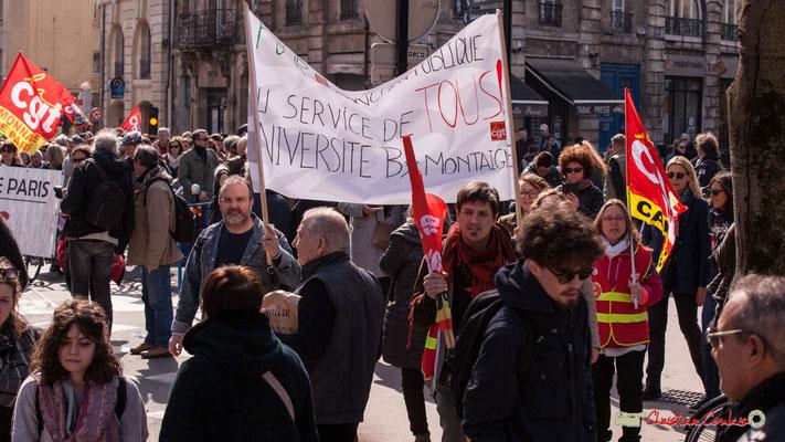 14h51 Manifestation intersyndicale de la Fonction publique/cheminots/retraités/étudiants, place Gambetta, Bordeaux. 22/03/2018