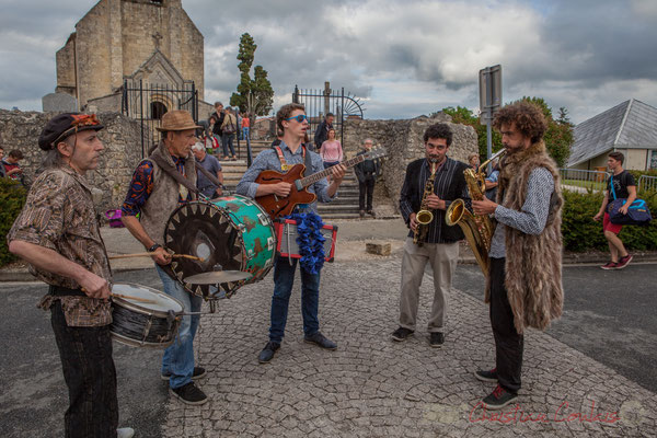 Jean-Michel Achiary, Christophe Urbanski, Thomas Boudé, Mathis Polack, Brice Matha, Fanfare afro-jazz Elephant Brass Machine, Festival Jazz360 2016, Cénac, 10/06/2016