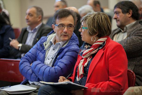 Lionel Faye, Président de la CDC des Portes de l'Entre-Deux-Mers, Maire de Quinsac; Catherine Veyssy, Vice-présidente du Conseil régional, Maire de Cénac