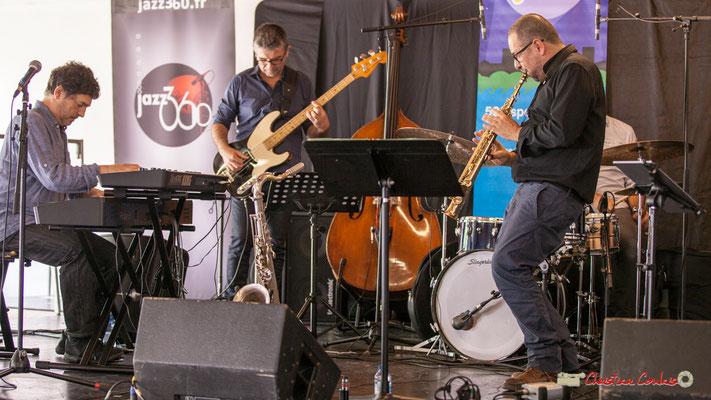 Serge Moulinier, Christophe Jodet, Alain Coyral; Serge Moulinier Quintet. Festival JAZZ360 2018, Camblanes-et-Meynac. 09/06/2018