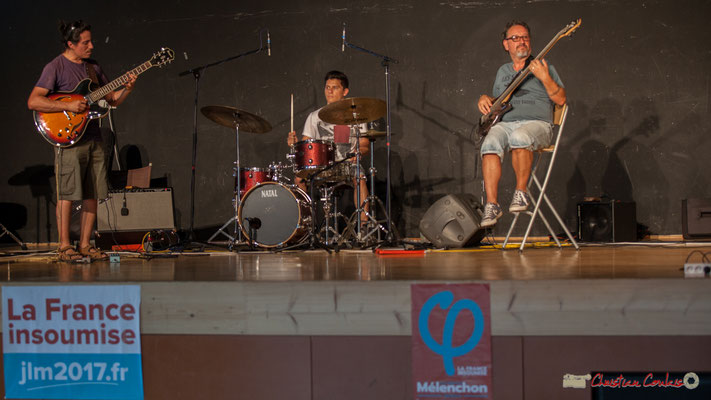 Javier Fernandez, Joris Seguin, François Mary. L'Internacional Jazz Trio. Concert de soutien des Insoumis de la 12ème circonscription de la Gironde. 28/05/2017, Targon