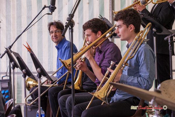 Didier Lacombe, Victor Dubray, Maxime Chevalier; Big Band du Conservatoire Jacques Thibaud. Festival JAZZ360 2019, parc du château de Pomarède, Langoiran. 06/06/2019
