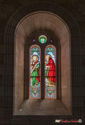 Vitrail du chœur sud Saint-Pétrus, Saint-Mathurin, don de Monseigneur G. Vibert, 1877. Eglise Saint-André, Cénac. 11/05/2018