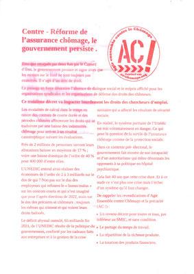 Tract syndical Agir ensemble contre le chômage page 1, manifestation du mardi 5 octobre 2021
