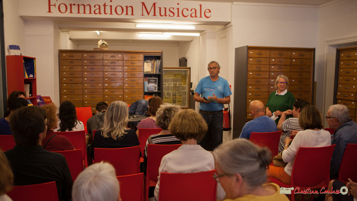 Richard Raducanu, Président de l'Association JAZZ360 déclare ouvert le Festival JAZZ360 à La Machine à Musique, Bordeaux. 02/06/2018
