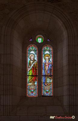 Vitrail du chœur nord Saint-Jean, Sainte-Mère-de-Dieu, don de Monseigneur G. Vibert, 1877. Eglise Saint-André, Cénac. 11/05/2018