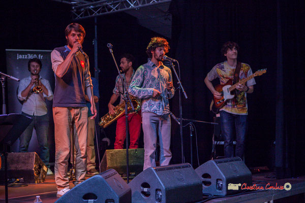 Paolo Chatet, Tanguy Bernard, Brice Matha, Jaime Chao, Jean-Loup Siaut-Surmer; le Parti Collectif. Festival JAZZ360 2019, Latresne, 09/06/2019