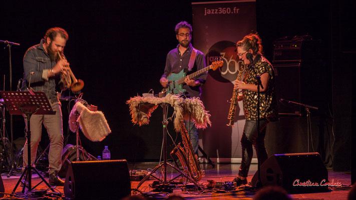 Høst invite Nicolas Gardel ; Nicolas Gardel, Pierre Terrisse, Carla Gaudré. Festival JAZZ360, Cénac. Vendredi 4 juin 2021. Photographie © Christian Coulais