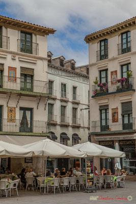 Tandis que d'autres façades des maisons du pourtour exhibent les armoiries de communes de la Ribera de Navarre. Plaza de Los Fueros, Tudela, Navarra