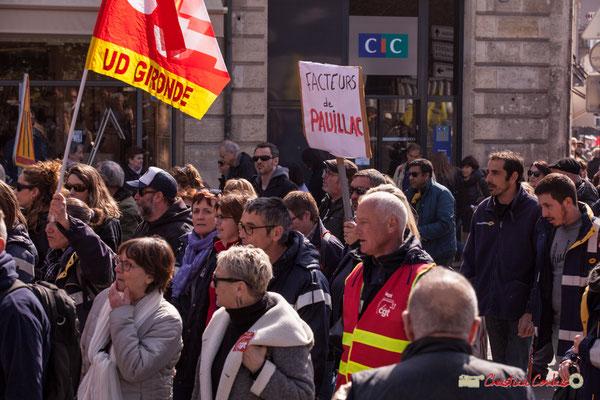 14h49 Facteurs de Pauillac. Manifestation intersyndicale de la Fonction publique/cheminots/retraités/étudiants, place Gambetta, Bordeaux. 22/03/2018