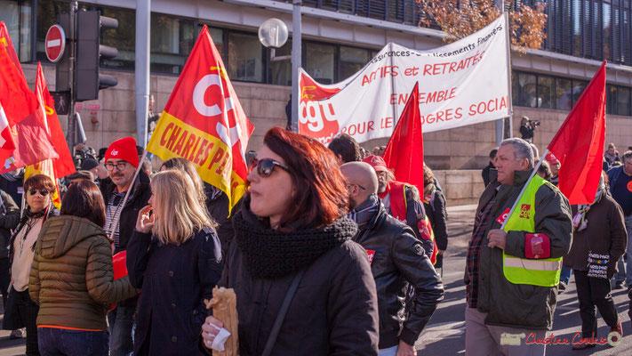CGT Charles Perrens - Assurances - Etablissements financiers. Manifestation intersyndicale contre les réformes libérales de Macron. Cours d'Albret, Bordeaux, 16/11/2017