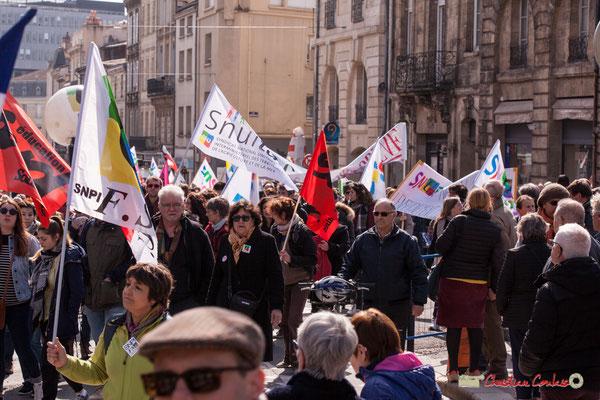 14h58 Manifestation intersyndicale de la Fonction publique/cheminots/retraités/étudiants, place Gambetta, Bordeaux. 22/03/2018