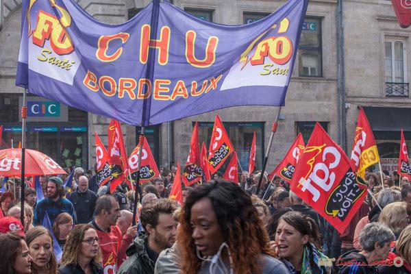 La CGT Educ-Action. Manifestation contre la réforme du code du travail. Place Gambetta, Bordeaux, 12/09/2017