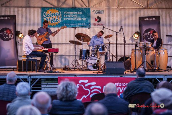 Adrien Brandéis, Romann Dauneau, Félix Joveniaux, Philippe Ciminato; Adrien Brandéis Quintet, Festival JAZZ360 2019, Langoiran. 06/06/2019