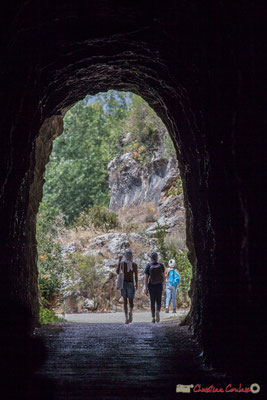 Au sortir de l'ancien tunnel ferroviaire de 167 mètres, gorges de Lumbier, Navarre /  A la salida del antiguo túnel de ferrocarril 167 metros, Foz de Lumbier, Navarra
